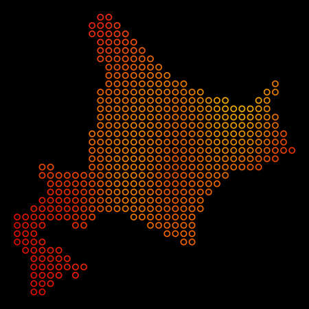 Dot fire Hokkaido Island Map. Raster geographical map in orange color tones on a black background. Raster pattern of Hokkaido Island Map composed of circle blots. Stock Photo
