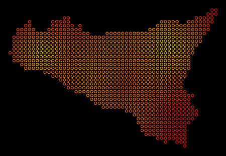 Dotted orange Sicilia Map. Raster geographic map in orange color variations on a black background. Raster mosaic of Sicilia Map made of empty spheres.