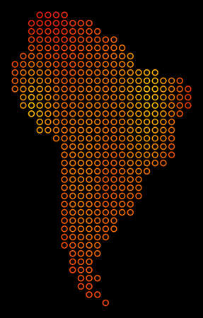 Dotted orange South America Map. Raster territory map in fire color tints on a black background. Raster collage of South America Map combined of contour spheres.