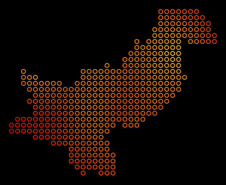 Dotted orange Pakistan map vector geographical in fire color hues on a black background. Mosaic of Pakistan map done of spherical elements. Vettoriali