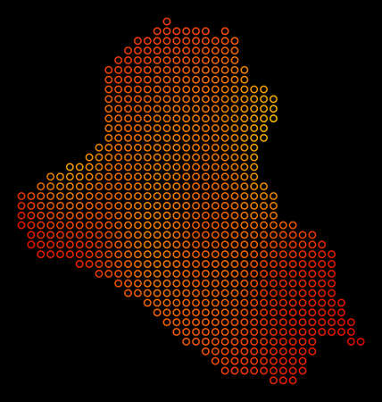 Dot orange Iraq Map. Vector territorial map in fire color variations on a black background. Vector composition of Iraq Map done of small circles. Illustration