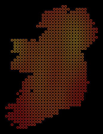 Dotted orange Ireland Island Map. Vector territorial map in fire color variations on a black background. Vector composition of Ireland Island Map combined of sphere dots.