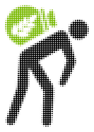 Harvest Porter halftone raster icon. Illustration style is dotted iconic Harvest Porter icon symbol on a white background. Halftone matrix is circle spots.