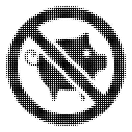 Forbidden Pig halftone raster pictogram. Illustration style is dotted iconic Forbidden Pig icon symbol on a white background. Halftone texture is circle pixel. Stock Photo