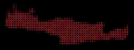 Dot red halftone Crete Island Map. Raster territorial map in red color tones on a black background. Raster halftone mosaic of Crete Island Map composed of circle points. 写真素材