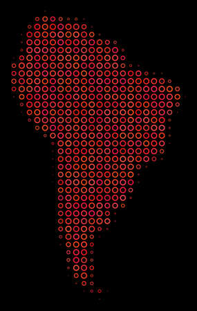 Dotted red halftone South America Map. Vector geographical map in red color variations on a black background. Vector halftone pattern of South America Map created of sphere elements. Illustration