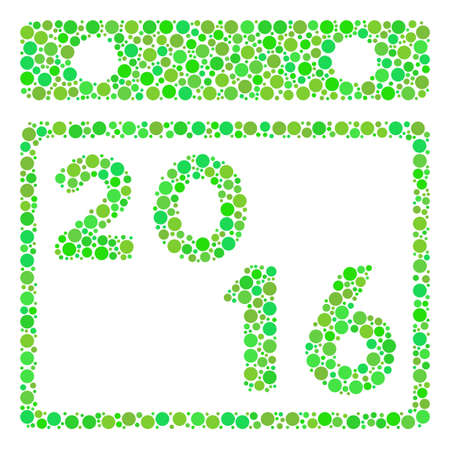 2016 Calendar mosaic icon of circle elements in different sizes and eco green shades. Vector filled circles are composed into 2016 calendar mosaic. Fresh vector illustration.