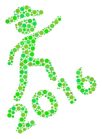 Gentleman Climbing 2016 composition icon of circle spots in different sizes and green color tones. Vector round elements are united into gentleman climbing 2016 mosaic. Ecological vector illustration.