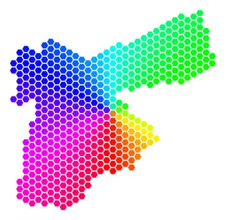 Hexagon spectrum Jordan Map. Vector geographic map in rainbow colors on a white background. Spectrum has circular gradient. Color vector pattern of Jordan Map designed of hexagonal spots. Stock Illustratie