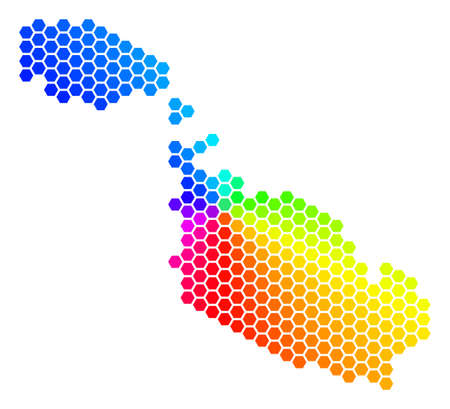 Hexagon spectrum Malta Island Map. Vector geographic map in bright colors on a white background. Spectrum has circular gradient. Color vector mosaic of Malta Island Map made of hexagonal spots.