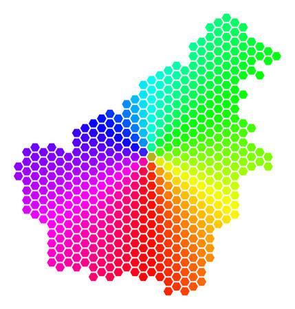 Hexagon spectrum Borneo Island Map.