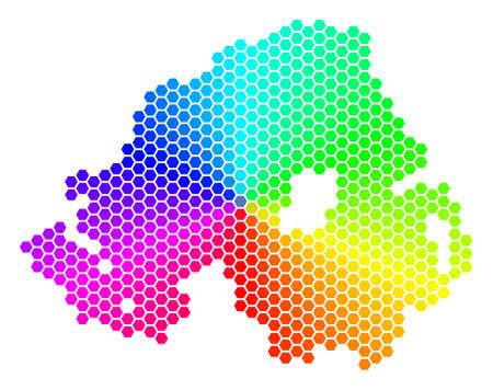 Spectrum hexagon Northern Ireland Map.
