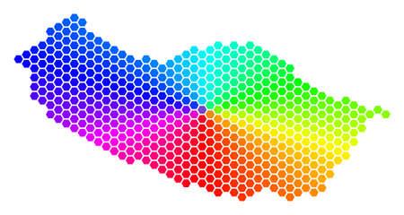 Hexagon spectrum Portugal Madeira Island Map.