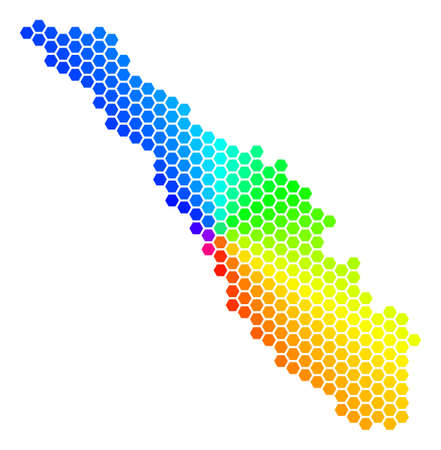 Hexagon spectrum Sumatra Island Map. Vector geographic map in rainbow colors on a white background. Spectrum has circular gradient.