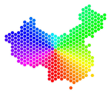 Hexagon spectrum map in bright colors on a white background.