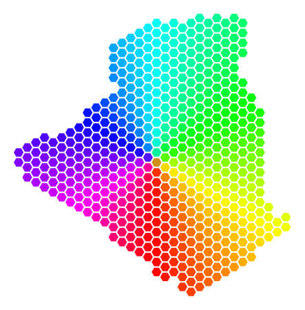 Spectrum hexagon Algeria Map. Raster geographic map in bright colors on a white background. Spectrum has circular gradient. Colored raster mosaic of Algeria Map done of hexagonal elements.