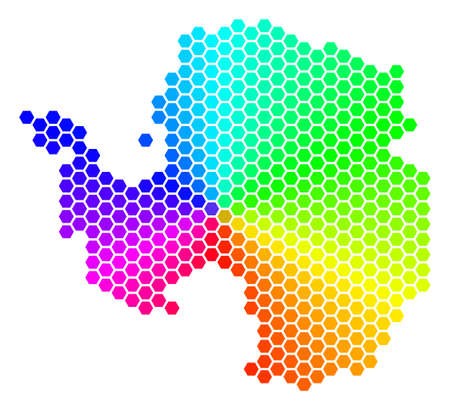 Hexagon spectrum Antarctica Map. Raster geographic map in bright colors on a white background. Spectrum has circular gradient. Colored raster collage of Antarctica Map made of hexagon blots. Stock Photo