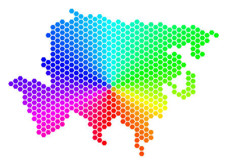 Hexagon spectrum Asia Map. Raster geographic map in rainbow colors on a white background. Spectrum has circular gradient. Multicolored raster concept of Asia Map done of hexagonal blots.