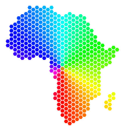 Spectrum hexagon Africa Map. Raster geographic map in rainbow colors on a white background. Spectrum has circular gradient. Multicolored raster concept of Africa Map created of hexagon blots.
