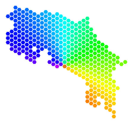 Hexagon spectrum Costa Rica Map. Raster geographic map in bright colors on a white background. Spectrum has circular gradient. Colorful raster collage of Costa Rica Map made of hexagonal blots.