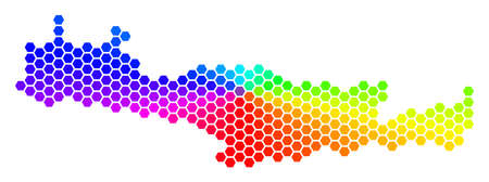 Spectrum hexagon Crete Island Map. Raster geographic map in rainbow colors on a white background. Spectrum has circular gradient. Colored raster collage of Crete Island Map done of hexagonal elements.