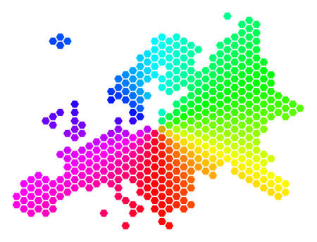 Hexagon spectrum Europe Map. Raster geographic map in bright colors on a white background. Spectrum has circular gradient. Colored raster concept of Europe Map made of hexagon blots.