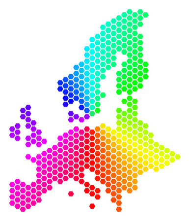 Hexagon spectrum European Union Map. Raster geographic map in bright colors on a white background. Spectrum has circular gradient. Stock Photo