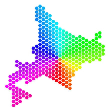 Spectrum hexagon Hokkaido Island Map. Raster geographic map in bright colors on a white background. Spectrum has circular gradient.