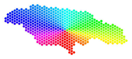 Spectrum hexagon Jamaica Map. Raster geographic map in rainbow colors on a white background. Spectrum has circular gradient. Multicolored raster composition of Jamaica Map composed of hexagonal dots. Imagens