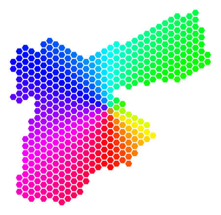 Spectrum hexagon Jordan Map. Raster geographic map in rainbow colors on a white background. Spectrum has circular gradient. Multicolored raster concept of Jordan Map combined of hexagonal pixels. Imagens