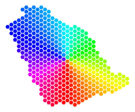 Spectrum hexagon Saudi Arabia Map. Raster geographic map in bright colors on a white background. Spectrum has circular gradient.