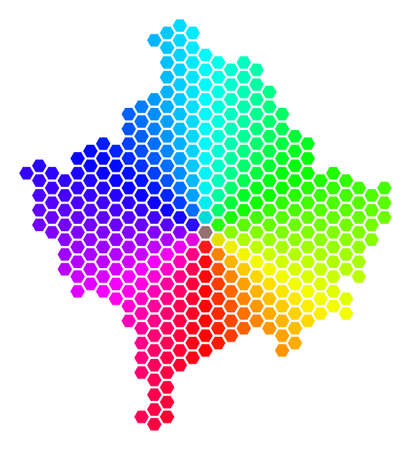 Spectrum hexagon Kosovo Map. Raster geographic map in rainbow colors on a white background. Spectrum has circular gradient. Colored raster composition of Kosovo Map composed of hexagonal blots.