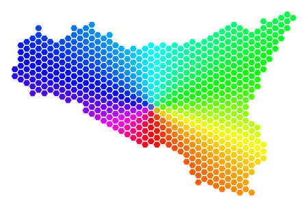 Hexagon spectrum Sicilia Map. Raster geographic map in rainbow colors on a white background. Spectrum has circular gradient. Colored raster concept of Sicilia Map composed of hexagonal items.