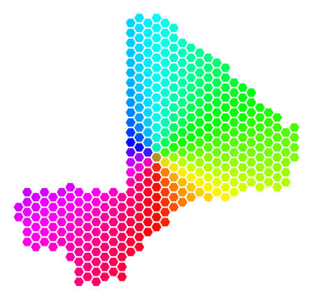 Hexagon spectrum Mali Map. Raster geographic map in rainbow colors on a white background. Spectrum has circular gradient. Multicolored raster composition of Mali Map made of hexagon spots. Imagens