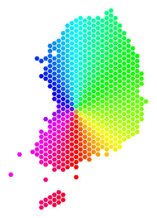 Spectrum hexagon South Korea Map. Raster geographic map in bright colors on a white background. Spectrum has circular gradient. Color raster pattern of South Korea Map constructed of hexagonal pixels.