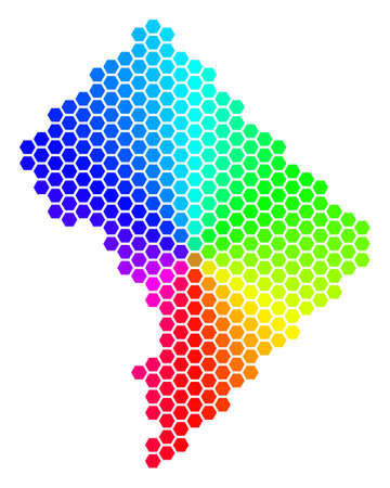 Hexagon spectrum Washington DC Map. Raster geographic map in bright colors on a white background. Spectrum has circular gradient. Colorful raster mosaic of Washington DC Map combined of hexagon spots.