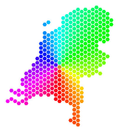 Spectrum hexagon Netherlands Map. Raster geographic map in bright colors on a white background. Spectrum has circular gradient. Color raster concept of Netherlands Map done of hexagonal pixels.