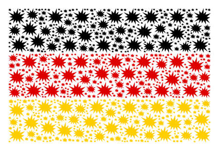 Germany State Flag pattern organized of bang elements. Vector bang elements are combined into conceptual German flag pattern.