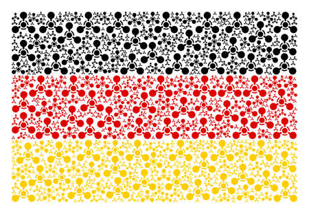 Germany State Flag collage designed of wmd nerve agent chemical warfare design elements. Vector wmd nerve agent chemical warfare items are united into mosaic German flag collage. Illustration