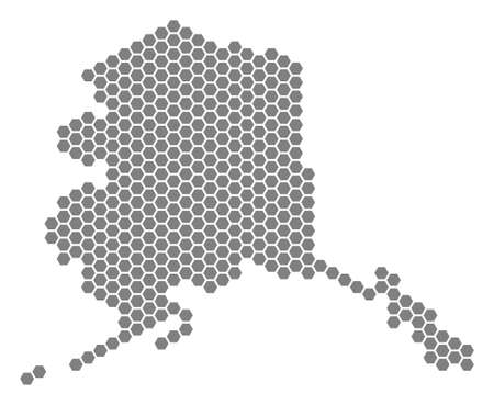 Gray hexagonal Alaska Map. Vector geographic map in grey color on a white background. Vector collage of Alaska Map constructed of hexagonal items.