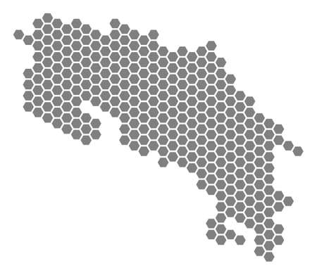Grey hexagonal Costa Rica Map. Vector geographic map in gray color on a white background. Vector concept of Costa Rica Map done of hexagon spots.