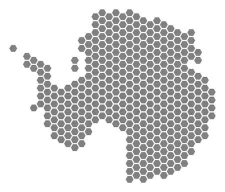 Grey hexagonal Antarctica Map. Vector geographical map in gray color on a white background. Vector pattern of Antarctica Map created of hexagonal blots.  イラスト・ベクター素材