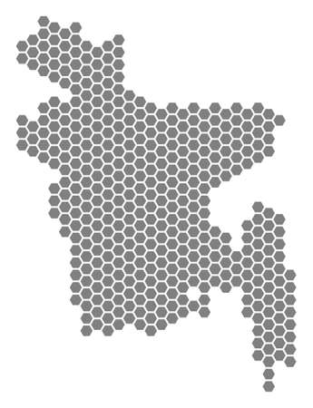 Grey hexagon Bangladesh Map. Vector geographical map in gray color on a white background. Vector composition of Bangladesh Map composed of hexagonal elements.