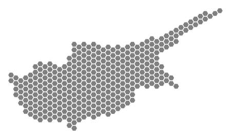 Gray hexagonal Cyprus Island Map. Vector geographic map in grey color on a white background. Vector mosaic of Cyprus Island Map constructed of hexagon spots.