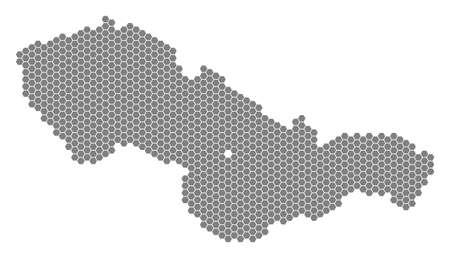 灰色の六角形チェコスロバキアマップ。白い背景に灰色で表示されるベクター地理マップ。六角形のしみロットで構成されたチェコスロバキアマッ