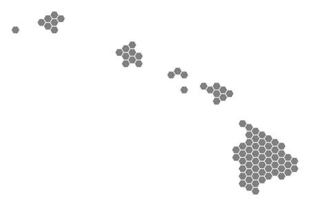 Grey hexagon Havaii Islands Map. Vector geographical map in grey color on a white background. Vector pattern of Havaii Islands Map constructed of hexagonal elements. Illustration
