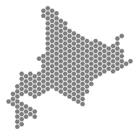 Gray hexagonal Hokkaido Island Map. Vector geographic map in grey color on a white background. Vector pattern of Hokkaido Island Map constructed of hexagonal items.