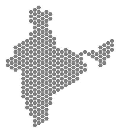Grey hexagon India Map. Vector geographical map in grey color on a white background. Vector collage of India Map made of hexagonal dots. Illustration