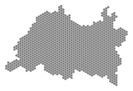 Grey hexagonal Tatarstan Map. Vector geographic map in grey color on a white background. Vector concept of Tatarstan Map organized of hexagon blots. Ilustracja