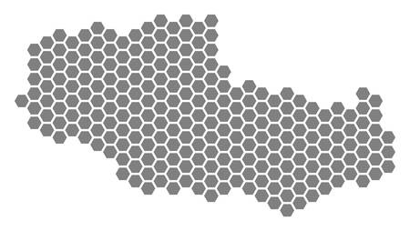 Grey hexagon Tibet Chinese Territory Map. Vector geographic map in gray color on a white background. Vector collage of Tibet Chinese Territory Map composed of hexagonal items.  イラスト・ベクター素材